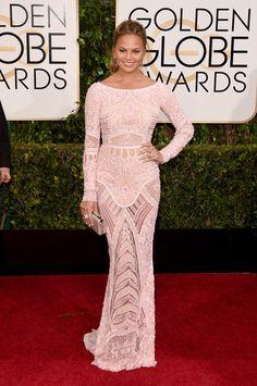 Chrissy Teigen Wearing a gorgeous Zuhair Murad gown at the Golden Globes.   - ELLE.com