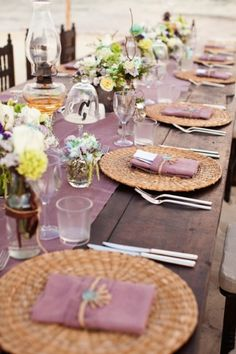 I am not a big fan of plain old purple but this color scheme is gorgeous and unique--Plum wedding tablescape inspiration #plum #wedding #tablesetting