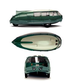 Dymaxion car, a concept car from the 1930s that could seat 12, turn on a dime, and got 30 miles to the gallon.