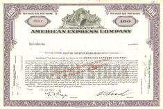 American Express Stock Certificate circa 1960