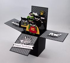 Batman Pop-Up Box Card by SnippetsByDesign - Cards and Paper Crafts at Splitcoaststampers Owl Punch Cards, Pop Up Box Cards, Boy Cards, Kids Cards, Cricut Cards, Stampin Up Cards, Pop Up Invitation, Exploding Box Card, Paper Toy