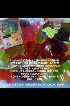Slimming world low syn jelly sweets Slimming World Haribo, Slimming World Sweets, Slimming World Puddings, Slimming World Syn Values, Slimming World Tips, Slimming World Recipes, Sliming World, Piercings, Healthy Eating Tips