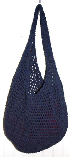 Crocheted Recycled Cotton Market Bag by WildRoseHerbShop on Etsy, $25.00