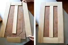 Got old cabinet doors? Reface them with trim boards and then paint everything for an inexpensive upgrade! (flip idea)