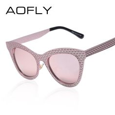 1219aab49d AOFLY Metal Sunglasses 2016 Cat Eye Sunglasses Luxury Brand Sexy Vintage Ladies  Sunglasses Chain Alloy Hollow out Frame Oculos