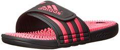 Cool adidas Performance Women's Adissage W Athletic Sandal, Core Black/Bahia Pink/Black, 4 M US