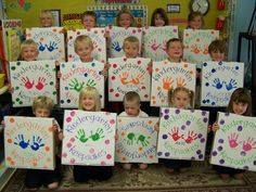 """Pizza Box Portfolios.  Each child has a pizza box.  They can paint it and decorate it however they choose.  You can send it home for the year, and have parents put """"special"""" Pieces of work in there to keep!"""