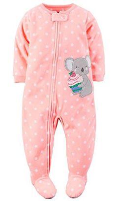 Carter's Baby-girls' 1 Pc Fleece Footed Blanket Sleeper Pajamas (12 Months, Peach Koala)