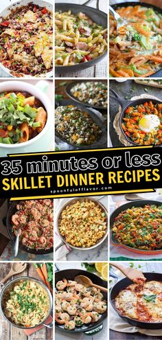The best family weeknight meals for busy moms! These skillet dinner recipes can be made in 35 minutes or less. Plus, many of these recipes require only one pot. Make dinners stress-free and simple with these recipes!