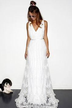Discount Straps Sleeveless Sash A-line Lace Sweep/Brush Train Boho Wedding Dress