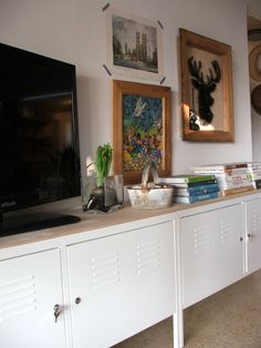ikea ps cabinets with birch board on top