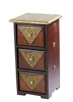 Antique finish dressing box with three compartments. The golden brass inlay work makes it a class-apart. Pewter, Ethnic, Decorative Boxes, Dressing, Antiques, Metal, Home Decor, Emboss, Manualidades