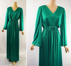 Vintage 1970s Formal Gown Emerald Green Jersey Party Evening Dress with Bell Sleeves Sz 12 B42 by alleycatsvintage on Etsy