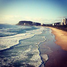 burleigh heads beach view - gold coast australia - ocean sand