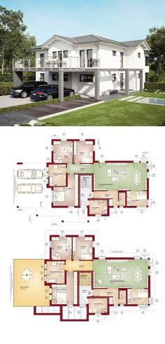 klassisches zweifamilienhaus mit satteldach und einliegerwohnung haus grundriss celebration 282 v2 bien zenker fertighaus - Fertighausplne