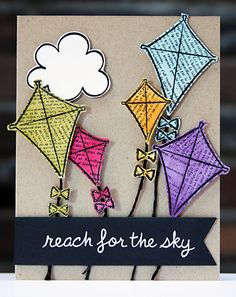 Lawn Fawn - Sunny Skies _ Kites-web manualidades primaria Newsprint Kites Card – Right as Rain Lawn Fawn, Scrapbook Cards, Scrapbooking, Theta Crafts, Kites Craft, Go Fly A Kite, Art Plastique, Kids Cards, Cool Cards