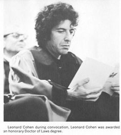 "cohenyearsphotos: "" "" Dalnews Dalhousie News #TBT to #DalhousieU's 1971 convocation ceremony w. honorary degree recipient Leonard Cohen #DalGrad pic.twitter.com/7CTeluzSx1 "" Photo tweeted by Dalhousie University News in Halifax, Nova Scotia. Heads up..."