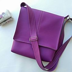 Fuschia Lily faux leather vegan messenger by CaptureHandmadeBags