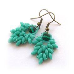 Sea Green Leafy Earrings with Super Duo by CreativeTreasuresUK, £8.50