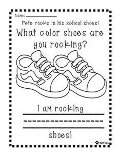 pete the cat i love my white shoes activities Preschool Curriculum, Preschool Themes, Kindergarten Literacy, Preschool Classroom, Preschool Learning, Preschool Songs, Preschool Worksheets, Preschool Crafts, Homeschooling