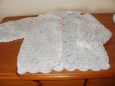 Hand crochet baby cardigan/ matinee jacket by ClementCrafts Crochet Baby Cardigan, Hand Crochet, Trending Outfits, Handmade Gifts, Sweaters, Jackets, Etsy, Clothes, Fashion