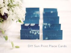 DIY Sun Print Wedding Escort Cards via oncewed.com