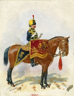 British; 4th(Queen's Own) Hussars, c.1887 by R.Simkin