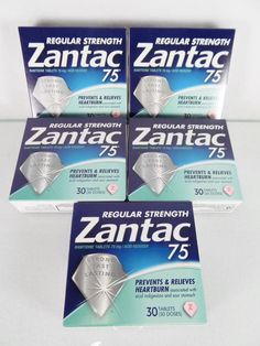 #Zantac 75 lot/set of five (5) regular strength acid reducer 30 count ct. pc boxes of #ranitidine #tablets for strong, fast and lasting #heartburn relief #indigestion and sour stomach with stamped February-April 2017 expiration/use by/before dates, brand new and unused in original manufacturer's blue and green retail factory sealed protective cardboard packaging…