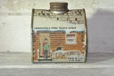 Vintage Absolutely Pure Maple Syrup Tin House by darlindaisies, $8.00