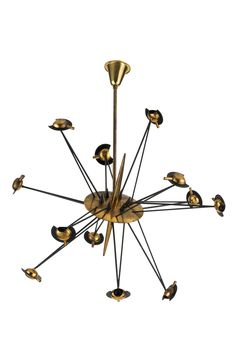 Oscar Torlasco; Brass and Enameled Metal Ceiling Light, 1950s.