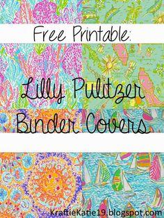 Kraftie Katie: Lilly Pulitzer Binder Covers DIY Free Printable