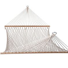 Buy Lazy Daze Hammocks Cotton Rope Double Hammock Wood Spreader, Chains Hooks, Two Person, 450 Pounds Capacity, Natural online - Hammock Straps, Rope Hammock, Rope Swing, Double Hammock, Hammock Chair, Hammocks, Outdoor Dining Set, Outdoor Chairs, Outdoor Decor