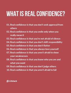 Real Confidence Isn't Like What Most People Think Of – Inspirational Quotes Self Confidence Tips, Confidence Quotes, How To Build Confidence, Confidence Images, Gaining Confidence, Confidence Building, How To Have Confidence, Building Self Esteem, Wisdom Quotes
