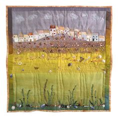 SEASIDE COTTAGES St. Ives Cornwall art quilt - card / envelope featuring a digital print of my art quilt