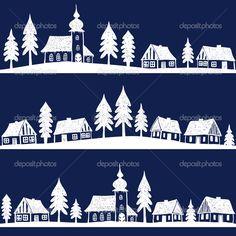 Villaggio di Natale con chiesa seamless pattern - illustrazione disegnata a mano