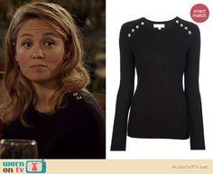 Julia's black sweater with gold shoulder buttons on Parenthood. Outfit Details: http://wornontv.net/22079 #Parenthood