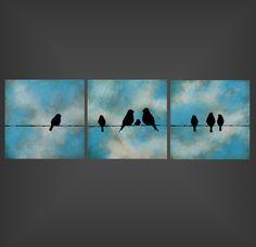 "Custom Love Bird Family - 12""x36""x1.5"" create your own original triptych painting on canvas by Jodi Leigh"