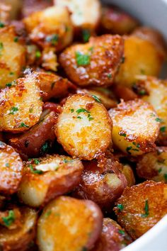 Roasted Garlic Butter Parmesan Potatoes Recipe - - These epic roasted potatoes with garlic butter parmesan are perfect side for your meal! - by Potato Recipes Roasted Garlic Butter Parmesan Potatoes Potato Dishes, Vegetable Dishes, Food Dishes, Potato Meals, Food Food, Veggie Side Dishes, Food Platters, Food Prep, Roast Chicken Side Dishes