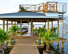 Two Story Boat Dock/Deck at DIY Network's Florida Blog Cabin 2014.