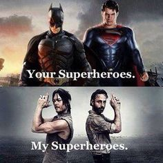 Batman & Superman VS Daryl Dixon & Rick Grimes why the hell can't I have all of them for heroes? Walking Dead Quotes, Walking Dead Funny, Walking Dead Zombies, Fear The Walking Dead, Batman Vs, Funny Batman, Andrew Lincoln, Daryl Dixon, Daryl Twd
