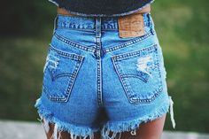 High waisted Denim Shorts Destroyed Ripped Jeans Vintage Cut