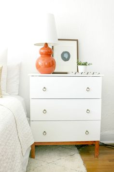 DIY Ikea Tarva Hack nightstands by Burlap and Lace