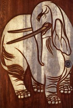 Cedar Doors (fusuma) with White Elephant and Chinese Lion (detail). By Tawaraya Sotatsu. Edo period, 17th century. Important Cultural Property. Yogen'in Temple, Kyoto, Japan 俵屋宗達「白象図」右
