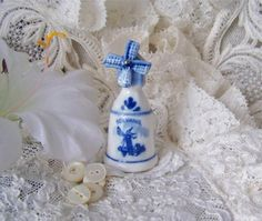 Vintage Blue Delft Thimble with Windmill by cynthiasattic on Etsy, $22.00