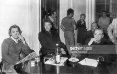 Helmut Berger, Burt Lancaster and Luchino Visconti at conference