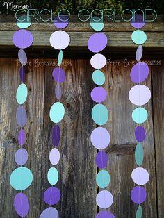 Mermaid Party Decor Mermaid Inspired Paper Circle Garland- Aqua, Purple, Lavender