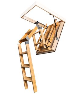 This Stira features a double action ladder that allows the ladder to open in tight spaces. The extra fold in the middle section of the ladder means the ladder doesn't arc out as far while opening. Folding Attic Stairs, Attic Ladder, Middle, Loft, Action, Spaces, Building, House, Design