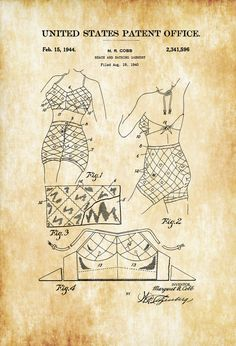 Bathing Suit Patent 1944 - Fashion Art Girls Room Decor Fashion Decor Vintage Swimwear Vintage Swimsuit Beach House Decor by PatentsAsPrints