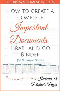 How to create a complete emergency important documents grab and go binder. How to create a complete emergency important documents grab and go binder (in 9 simple steps). Includes 18 free pages you can print for your binder. Family Emergency Binder, In Case Of Emergency, Emergency Preparedness Binder Printables, Organizing Paperwork, Binder Organization, Organizing Life, College Organization, Organising, Organizing Ideas
