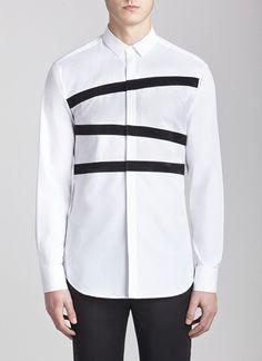Straight Collar Banded Tuxedo Shirt White/black neil barrett
